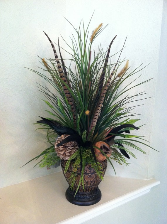 Reserved For Wendy Natural Tall Grass Arrangement With Dried