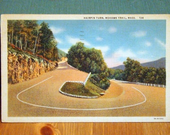Vintage Postcard, Hairpin Turn, Mohawk Trail, Massachusetts,1930s Linen Paper Ephemera