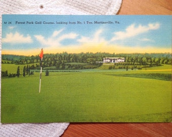 Vintage Postcard, Forest Park Golf Course, Martinsville, Virginia, 1940s Linen Paper Ephemera