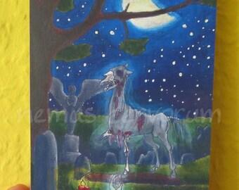"Helhesten ACEO art card 2,5""x3,5"" 6,4x8,9cm collector card edition SFA Zombie Horse norse mythology"