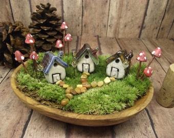 Miniature Clay House - Set of 3 houses - 9 Glow in the Dark Mushrooms - 3 miniature lanterns. terrarium supplies - Handmade Clay Fairy House