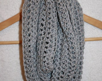3. Crochet Infinity Scarf: Silver Sparkle