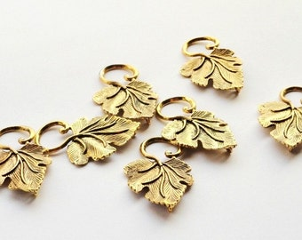 Antiqued Brass Leaf, Charm, Pendant, Jewelry Making, 35mm, Craft Supply Destash