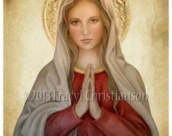 Mary, Mother of God Catholic Art Print Blessed Virgin Mary, Our Lady #4031