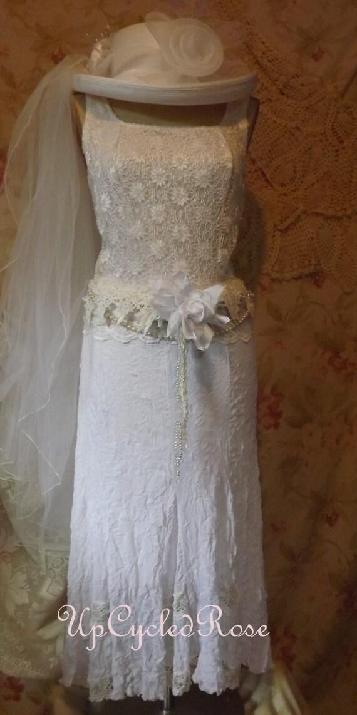 Shabby Chic Top and Skirt Barn Wedding With Sash Ready To Ship