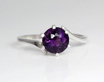 Sterling Silver Amethyst Ring / Natural Amethyst Silver Ring February Birthstone