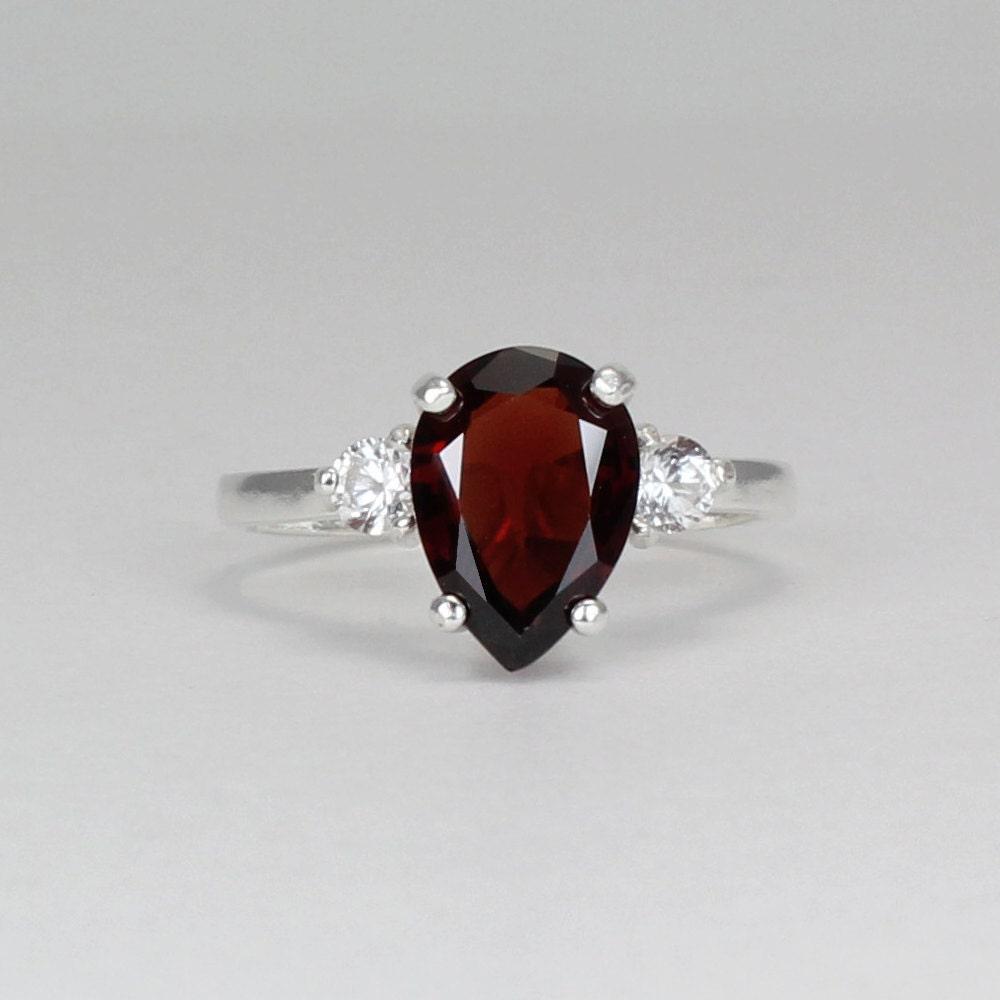 sterling silver garnet ring with sapphires garnet silver. Black Bedroom Furniture Sets. Home Design Ideas