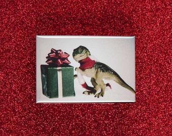 Stocking Stuffer Magnet: T-rex gets a Present