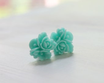 Aqua Flower Star Plugs Custom 4g 2g 0g 00g Vintage Inspired Gauges Size 4 2 0 or 00 Wedding Bridal