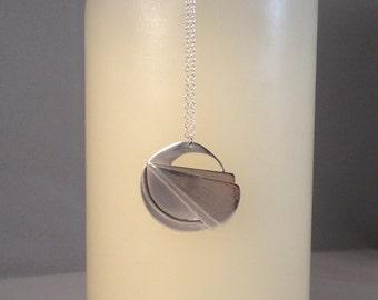 Art Deco Inspired Sunrays Sterling Silver Pendant (BL0039)