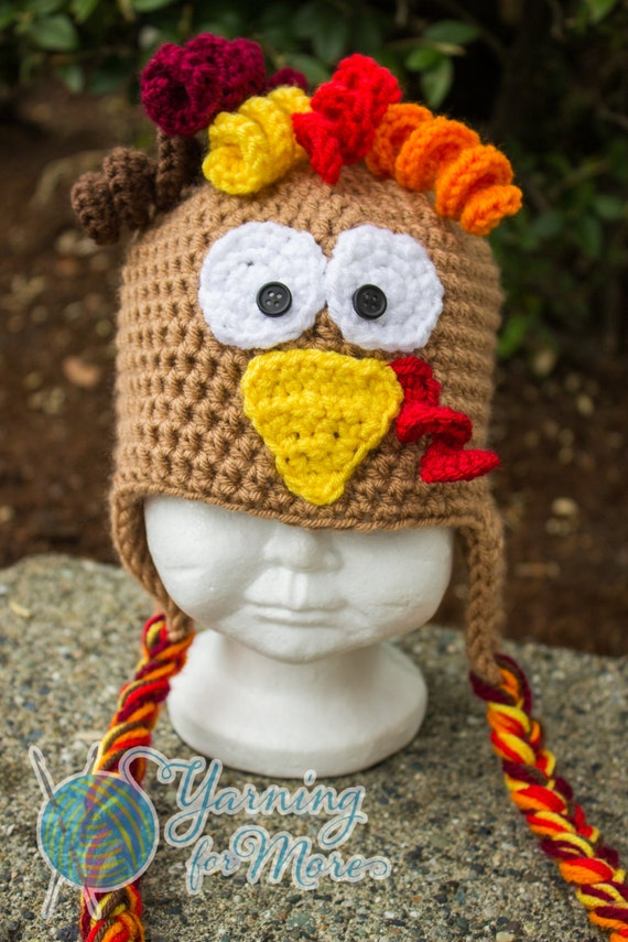 Crochet Turkey Cat Hat Pattern : Crochet Turkey Hat Thanksgiving Hat Baby Turkey Hat