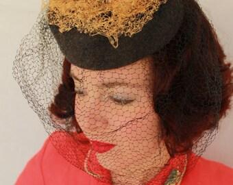 SALE / In-Stock: Vintage 1940s-Style Grey Felt Tilt Hat with Orange Vintage Double Faux Birds in a Nest