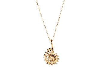 Ammonite necklace - little gold shell necklace - spiral necklace - spiral shell - a gold vermeil ammonite shell on 14k gold vermeil chain