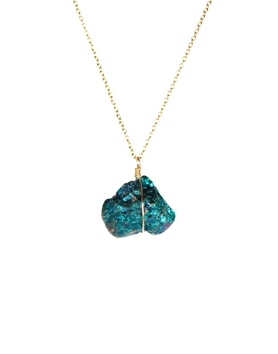Items similar to Peacock ore necklace - chalcopyrite ...