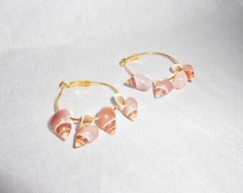 pierced earrings seashells on wire