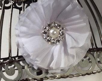 White hair flower hair accessory with fancy pearl and rhinestone center, white hair clip, white hair accessory, white hair flower