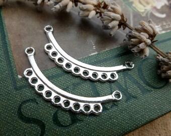 6 x courbé connecteur argent breloques, collier en argent Antique pendentifs Macrame fournitures P102