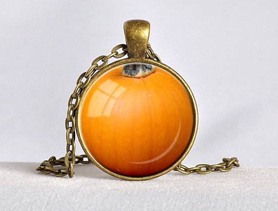 FALL PUMPKIN PENDANT Autumn Orange and Black Fall Necklace Thanksgiving Jewelry Necklace Thanksgiving Pumpkin Jewelry