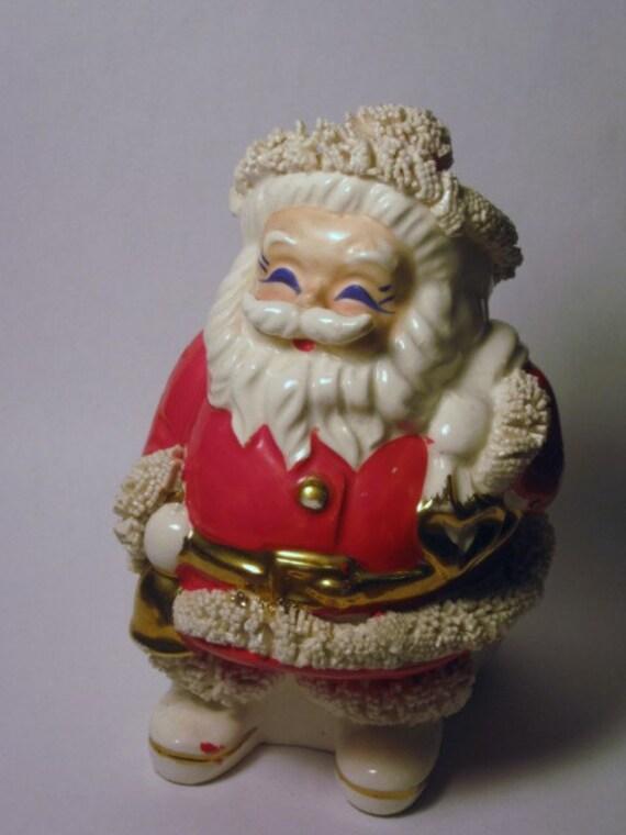 Vintage napco blue eyed santa claus piggy bank porcelain