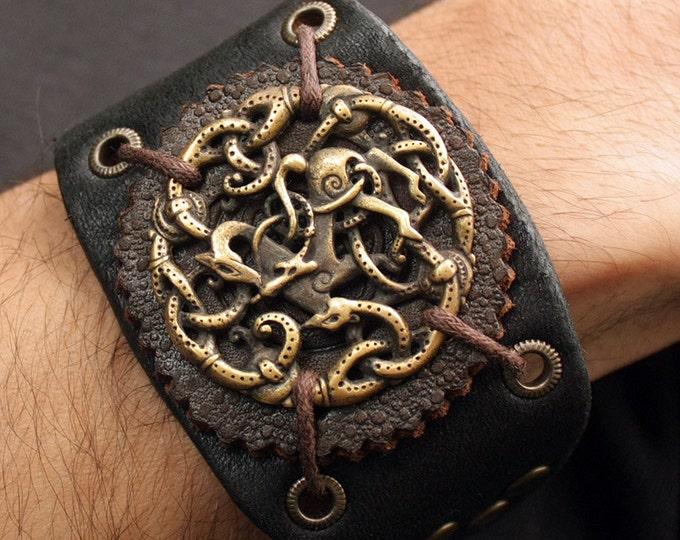 Bronze Vikings Symbol Balance of Powers 3D Amulet Leather Bracelet Talisman Pendant Necklace