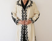 Reserved Wool hand made Vintage Balkans embroidery long Coat  Ivory white background black  Embroidered  60's retro 1960's free shipping