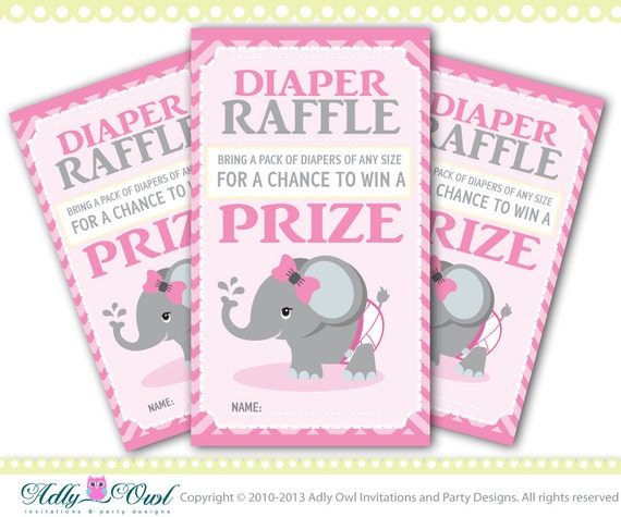 Elephant Diaper Raffle Tickets Printables for Baby Girl Shower DIY ...