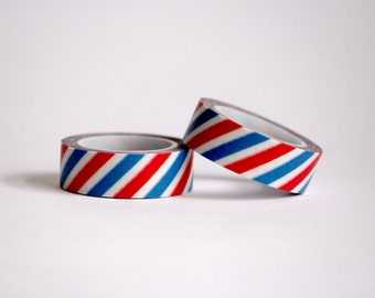 Blue And Red Stripes Washi Tape / Japanese Masking Tapes
