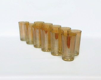 Vintage Iridescent Glass Tumblers, Set of 11 Iridescent Marigold Ribbed Glass Tumblers By Jeannette Glass, Lusterware Carnival Glassware