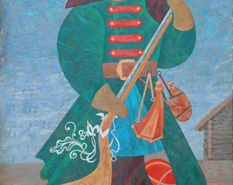 Russian Soldier and a Magpie , oil, canvas on cardboard, original