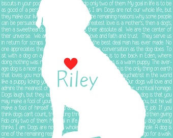 Labrador Retriever Custom Pet Print, Dog Quotes -  Personalized Dog Art Print, Silhouette, Lab, Golden Retriever