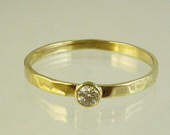 Handmade Engagement Ring.Daimond ring,14 karat  ring, yellow gold ring,Recycled gold, Wedding Band, Gold