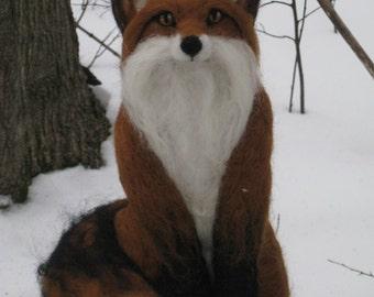 Handmade Needle Felted Woodland  Wool Fox