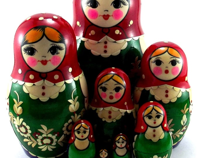 Nesting Dolls 10 pcs Russian matryoshka doll Authentic babushka set wooden stacking handpainted toy Birthday gift for mom Inlaid.