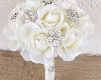 "Silk Brooch Wedding Bouquet - Natural Touch Roses and Flower Brooch Jewel 8"" Bride Bouquet - Rhinestones"
