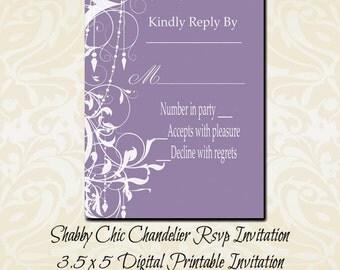 Shabby Chic Chandelier Violet Rsvp Instant Download Invitation