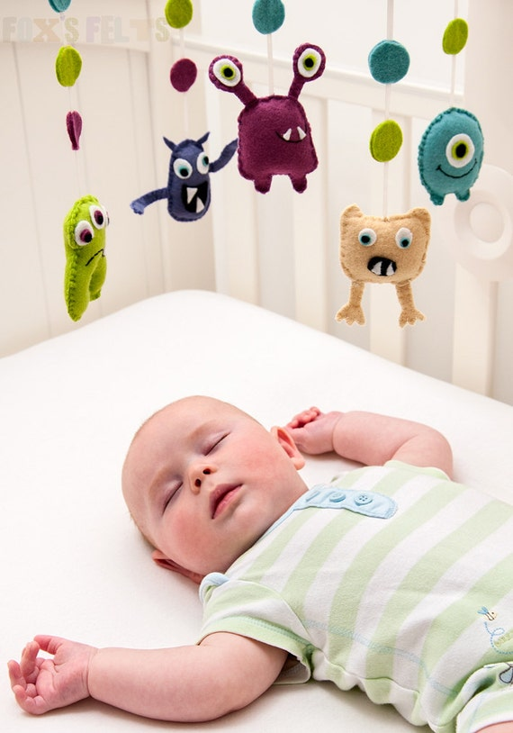 Items similar to felt monsters mobile nursery mobile for Baby cot decoration