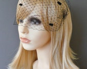 Black Dots Birdcage Veil Bandeau with double gold or silver plated combs french netting blusher funeral veil 'Minnie'