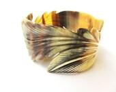 Leaf bracelet, bangle bracelet, fashion jewelry, organic horn, hand carved, natural theme, amber, black, beige