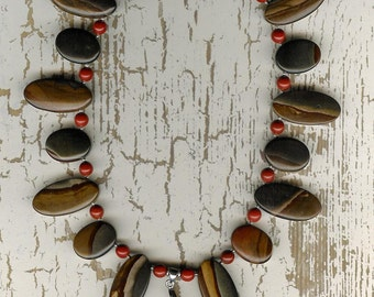 Going Gray - Succor Creek Jasper, Red Jasper, Sterling Silver Necklace