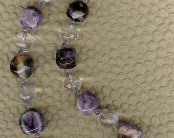 Rock It - Amethyst, Rock Quartz, Pink Amethyst, Sterling Silver Necklace February Birthstone Valentine Gift