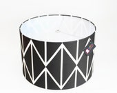 Modern Lamp Shade - Pendant Light - Swag Lamp - Choose Your Size - Black and White Geometric
