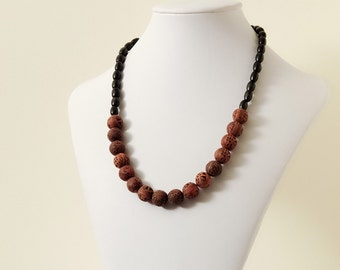 Round Antiqued Pale Red Asian Motif Resin Bead & Black Wood Bead Necklace