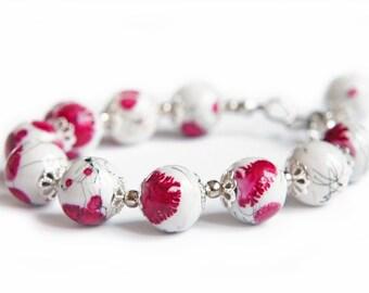 Spring Bracelet, Flower Bracelet, Pink Bracelet, Porcelain Beads