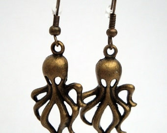 Octopus earrings charms in antique bronze steampunk pirate nautical style