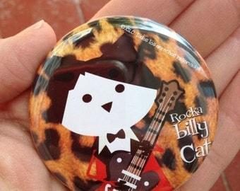 Rockabilly Cat, pinback button 2.16 in