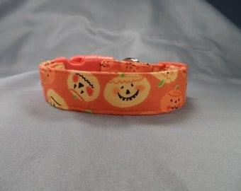 Grinning Pumpkins on Orange Halloween Dog Collar