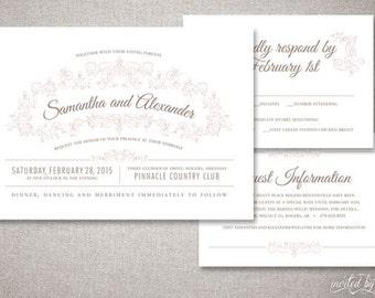 """Vintage Chic """"Samantha"""" Wedding Invitations Suite - Romantic Woodland Rustic Vine Invite - Custom Digital Printable or Printed Invitation"""