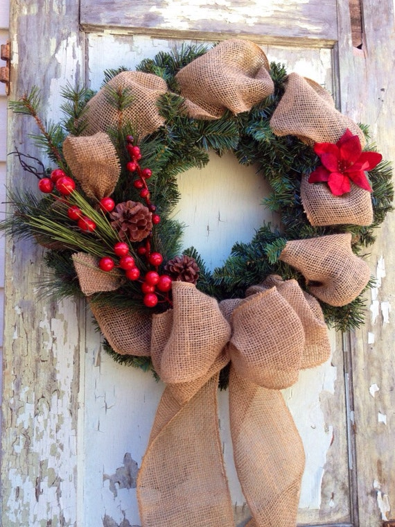 Items similar to winter burlap wreath red berries on etsy for Best home decor on etsy