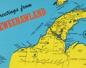Keweenawland Map Michigan's Copper Country Vintage Chrome Greetings Postcard 1980