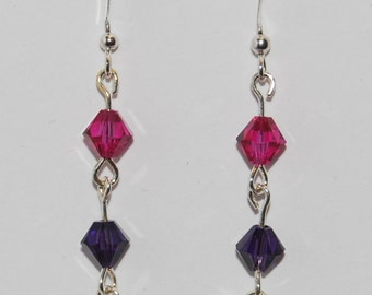 Swarovski Crystal Beaded GLBTQA Bi-Pride Earrings